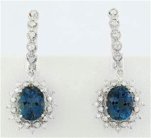 7.50 CTW Topaz 14K White Gold Diamond Earrings