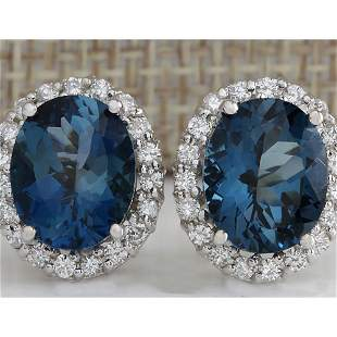 8.50 CTW Natural Topaz And Diamond Earrings 14K Solid