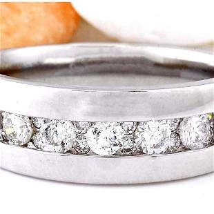 1.17 CTW Natural Diamond 18K Solid White Gold Ring