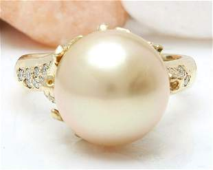 12.45 mm White South Sea Pearl 18K Solid Yellow Gold