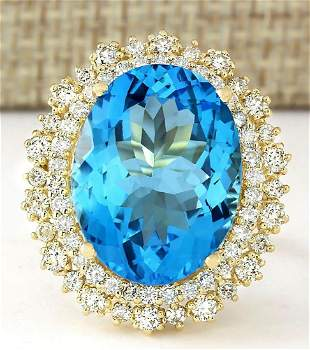 18.42 CTW Natural Blue Topaz And Diamond Ring In 14k