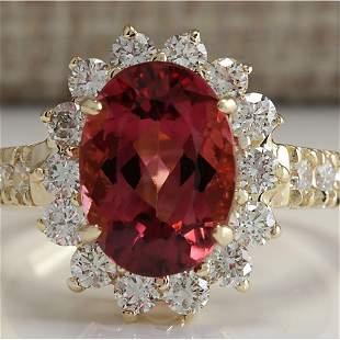 4.07 CTW Natural Pink Tourmaline And Diamond Ring 14K