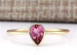 0.50 CTW Natural Pink Tourmaline Ring 14k Solid Yellow