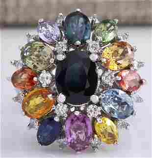 7.68 CTW Natural Ceylon Sapphire And Diamond Ring In18K