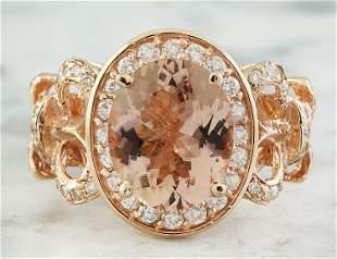 4.50 CTW Morganite 14 K Rose Gold Diamond Ring