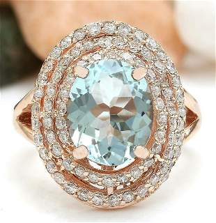 4.27 CTW Natural Aquamarine 14K Solid Rose Gold Diamond