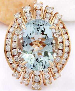 10.51 CTW Natural Aquamarine 14K Solid Rose Gold