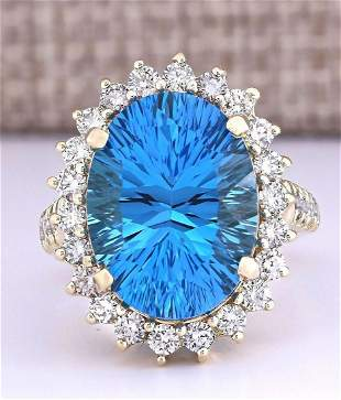 13.02 CTW Natural Blue Topaz And Diamond Ring In 14k
