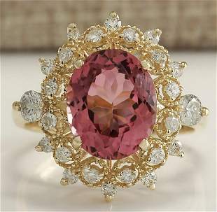 4.61 CTW Natural Pink Tourmaline And Diamond Ring 14K