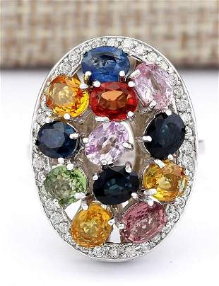 5.34 CTW Natural Ceylon Sapphire And Diamond Ring In