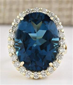 21.20 CTW Natural London Blue Topaz And Diamond Ring In