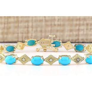 5.31 CTW Natural Turquoise And Diamond Bracelet In 14k