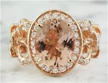 450 CTW Morganite 14 K Rose Gold Diamond Ring