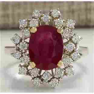 3.91 CTW Natural African Ruby And Diamond Ring 14K