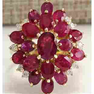 6.04Tw Natural Red Ruby And Diamond Ring 14K Solid