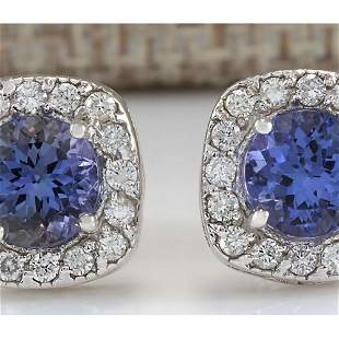 2.97 CTW Natural Tanzanite And Diamond Earrings 18K