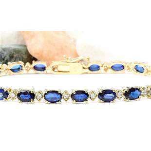 13.40 CTW Natural Sapphire 14K Solid Yellow Gold