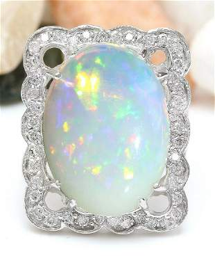 13.10 CTW Natural Opal 14K Solid White Gold Diamond