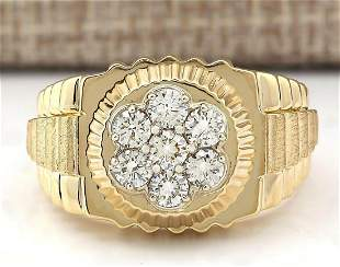 1.00 CTW Natural Mens Rolex Diamond Ring 18K Solid