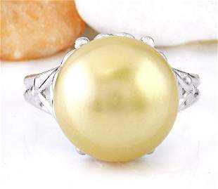 12.90 mm Gold South Sea Pearl 18K Solid White Gold Ring