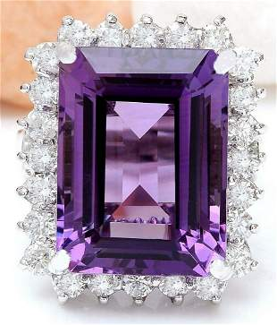 14.20 CTW Natural Amethyst 18K Solid White Gold Diamond