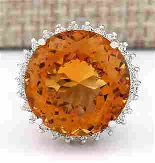 18.42 CTW Natural Citrine And Diamond Ring 18K Solid