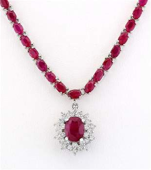 28.04 CTW Natural Ruby And Diamond Necklace In 14k