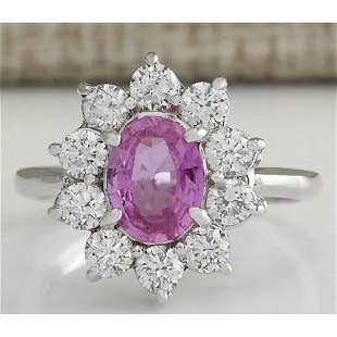 2.30 CTW Natural Pink Ceylon Sapphire Diamond Ring 18K