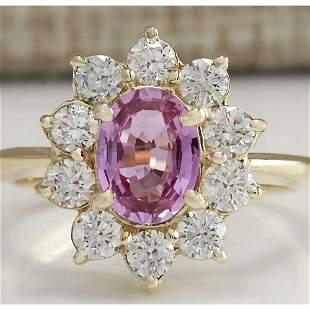 2.37 CTW Natural Pink Ceylon Sapphire Diamond Ring 18K