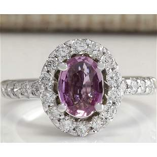 2.02 CTW Natural Pink Ceylon Sapphire Diamond Ring 18K