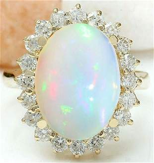 5.55 CTW Natural Opal 14K Solid Yellow Gold Diamond