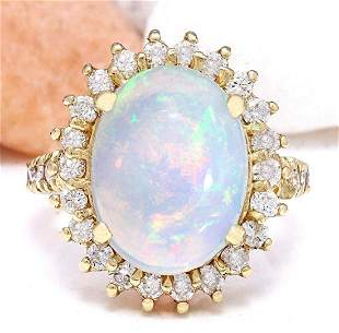 4.82 CTW Natural Opal 14K Solid Yellow Gold Diamond