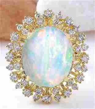 8.75 CTW Natural Opal 14K Solid Yellow Gold Diamond