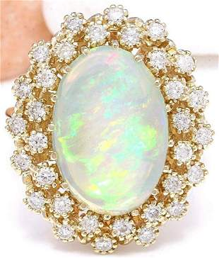5.70 CTW Natural Opal 18K Solid Yellow Gold Diamond