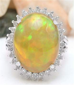 13.48 CTW Natural Opal 14K Solid White Gold Diamond