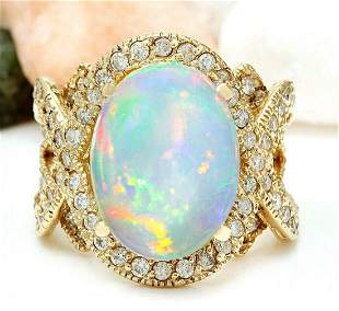 8.88 CTW Natural Opal 18K Solid Yellow Gold Diamond