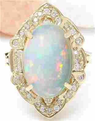 9.05 CTW Natural Opal 18K Solid Yellow Gold Diamond