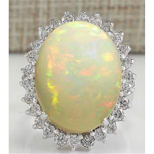 13.65 CTW Natural Ethiopian Opal And Diamond Ring In