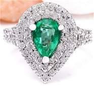 2.70 CTW Natural Emerald 14K Solid White Gold Diamond