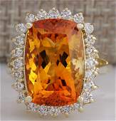 8.87 CTW Natural Citrine And Diamond Ring 14K Solid