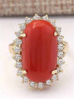 9.07 CTW Natural Coral And Diamond Ring In 18K Yellow