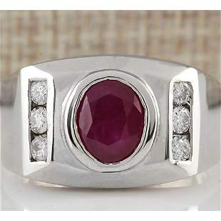 3.77 CTW Natural Ruby And Diamond Ring In 18K White