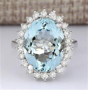 9.12 CTW Natural Aquamarine And Diamond Ring In 18K