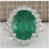 8.93 CTW Natural Colombian Emerald And Diamond Ring In