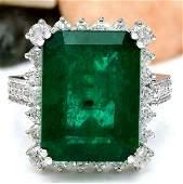 11.13 CTW Natural Emerald 14K Solid White Gold Diamond