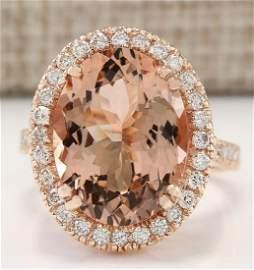 8.26 CTW Natural Morganite And Diamond Ring In 14k Rose
