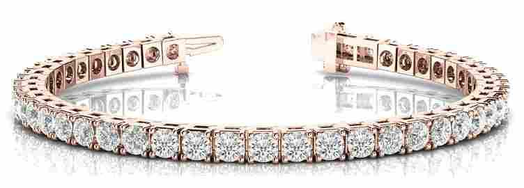 5 Carat Diamond Engagement 14K Rose Gold Bracelet
