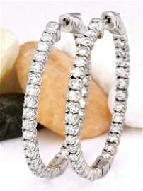 3.00 CTW Natural Diamond 18K Solid White Gold Earrings