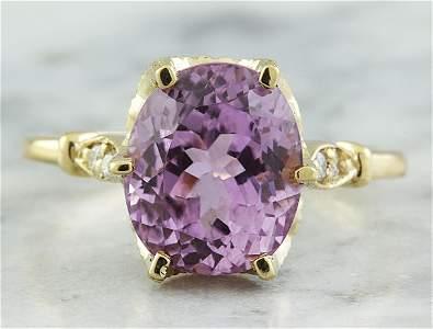 5.41 CTW Kunzite 18K Yellow Gold Diamond Ring