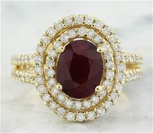 2.77 CTW Ruby 14K Yellow Gold Diamond Ring